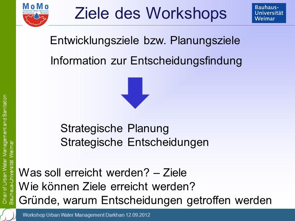Chair of Urban Water Management and Sanitation Bauhaus-Universität Weimar Workshop Urban Water Management Darkhan 12.09.2012 Strategische Planung Stra