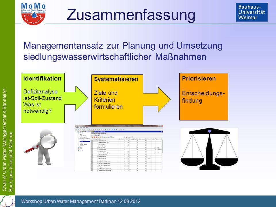 Chair of Urban Water Management and Sanitation Bauhaus-Universität Weimar Workshop Urban Water Management Darkhan 12.09.2012 Zusammenfassung Managemen