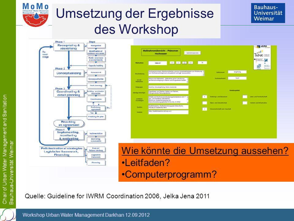 Chair of Urban Water Management and Sanitation Bauhaus-Universität Weimar Workshop Urban Water Management Darkhan 12.09.2012 Umsetzung der Ergebnisse