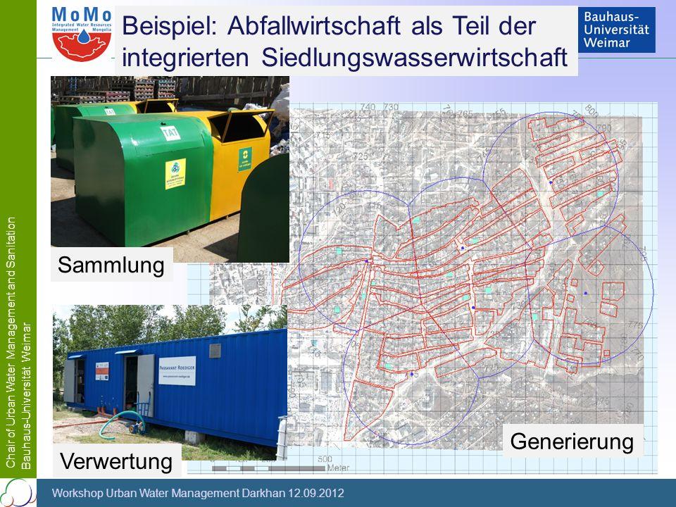 Chair of Urban Water Management and Sanitation Bauhaus-Universität Weimar Workshop Urban Water Management Darkhan 12.09.2012 Beispiel: Abfallwirtschaf