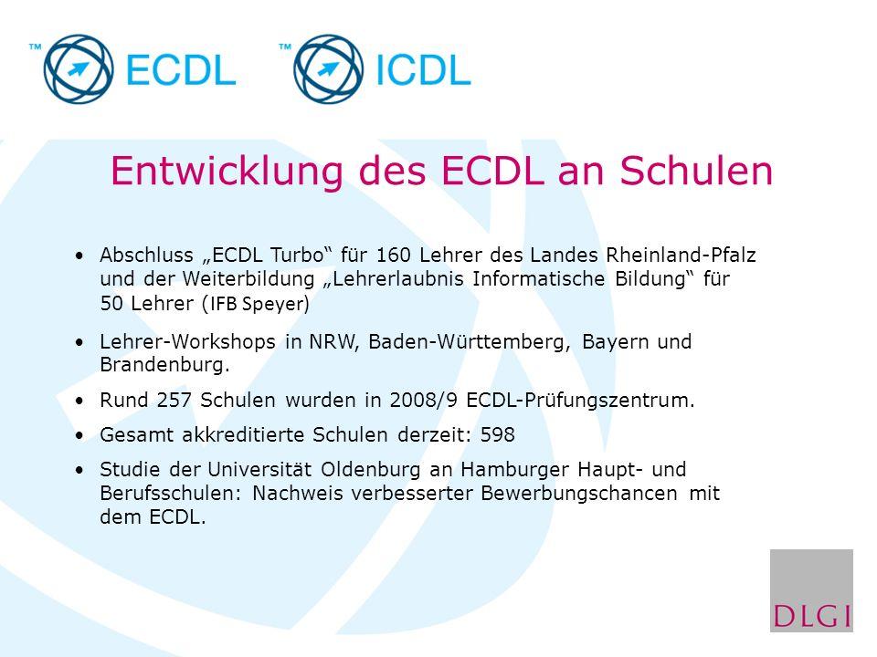 Abschluss ECDL Turbo für 160 Lehrer des Landes Rheinland-Pfalz und der Weiterbildung Lehrerlaubnis Informatische Bildung für 50 Lehrer ( IFB Speyer) L