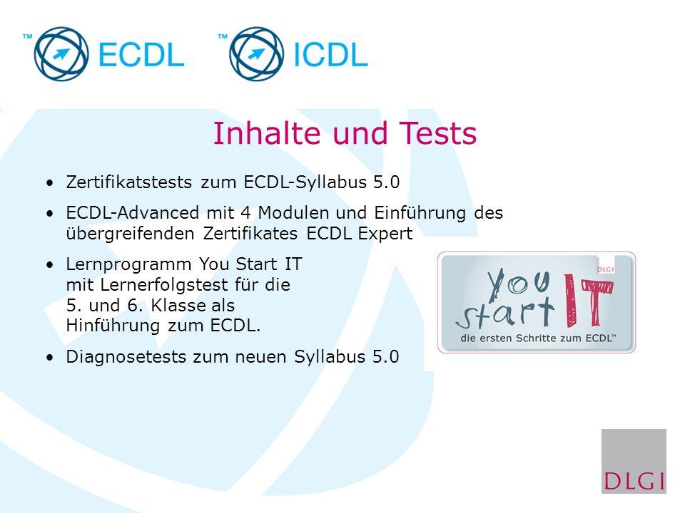 Inhalte und Tests Zertifikatstests zum ECDL-Syllabus 5.0 ECDL-Advanced mit 4 Modulen und Einführung des übergreifenden Zertifikates ECDL Expert Lernpr