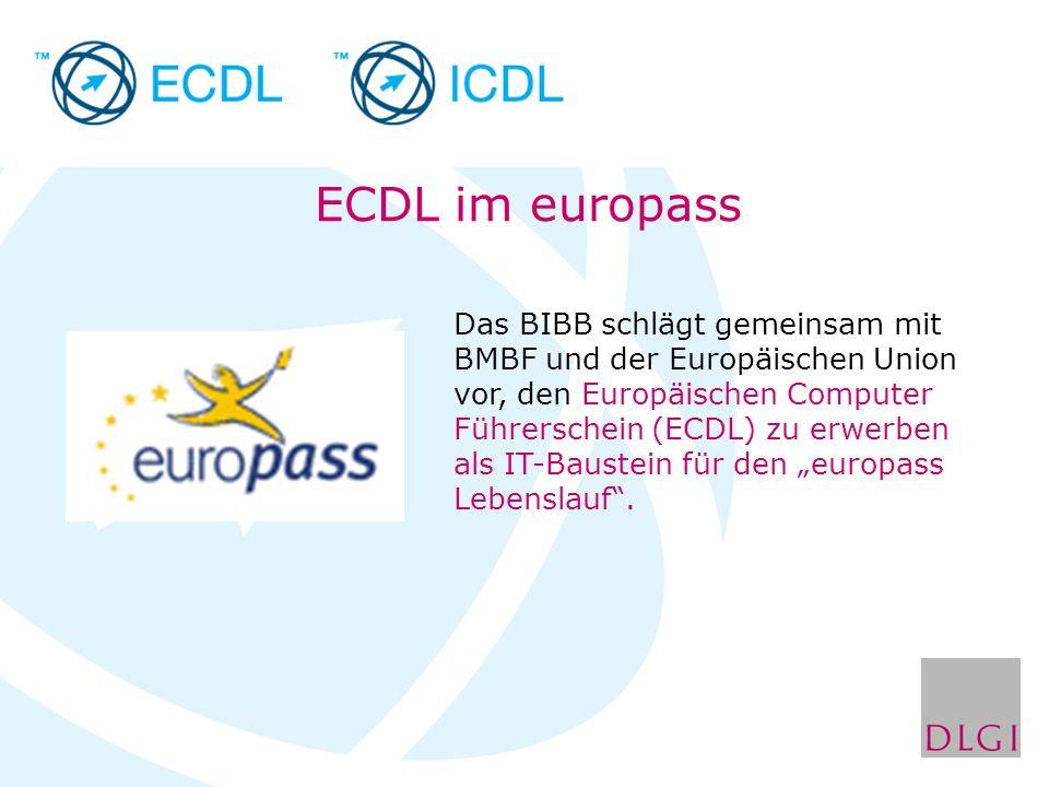 Das BIBB schlägt gemeinsam mit BMBF und der Europäischen Union vor, den Europäischen Computer Führerschein (ECDL) zu erwerben als IT-Baustein für den