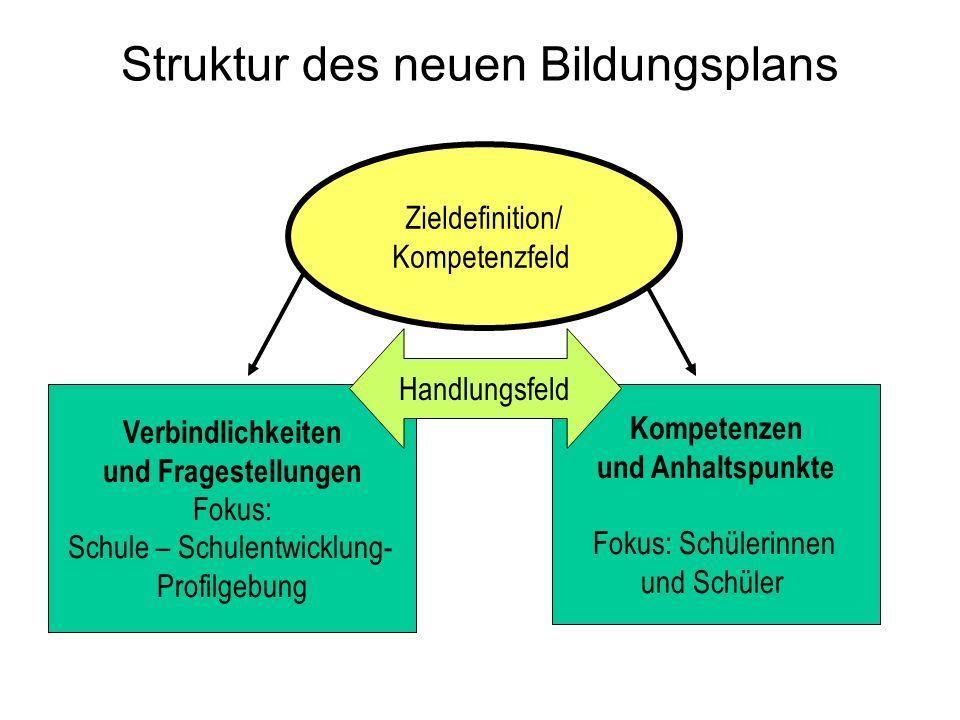 Zieldefinition/ Kompetenzfeld Verbindlichkeiten und Fragestellungen Fokus: Schule – Schulentwicklung- Profilgebung Kompetenzen und Anhaltspunkte Fokus