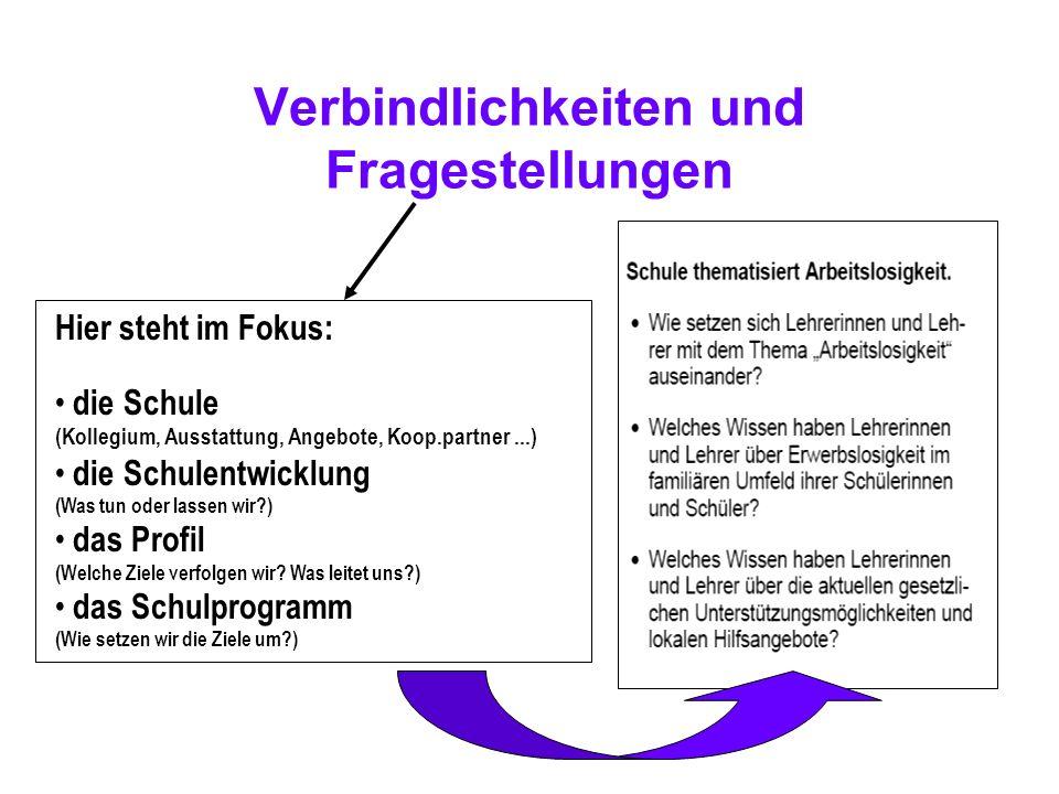 Verbindlichkeiten und Fragestellungen Hier steht im Fokus: die Schule (Kollegium, Ausstattung, Angebote, Koop.partner...) die Schulentwicklung (Was tu