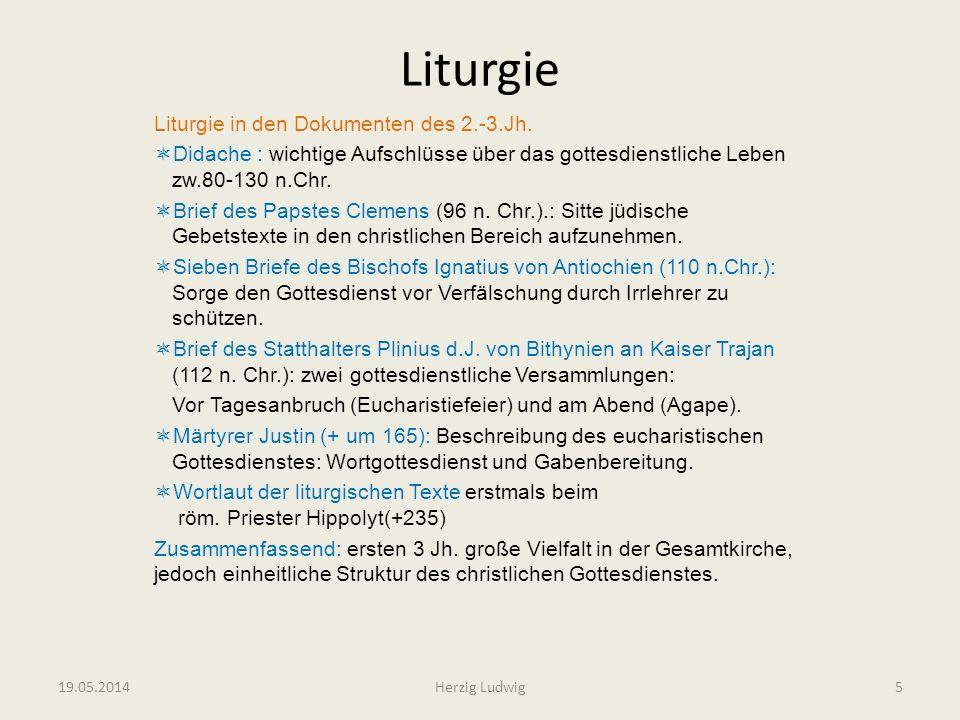 Liturgie Liturgie in den Dokumenten des 2.-3.Jh. Didache : wichtige Aufschlüsse über das gottesdienstliche Leben zw.80-130 n.Chr. Brief des Papstes Cl