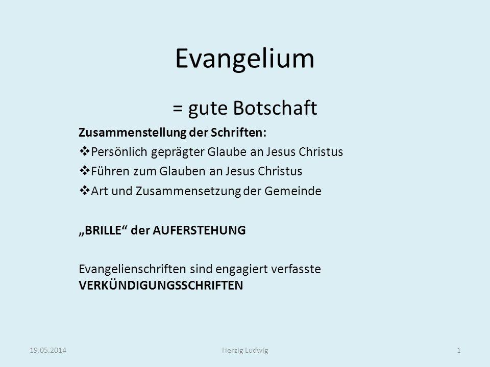 Evangelium = gute Botschaft Zusammenstellung der Schriften: Persönlich geprägter Glaube an Jesus Christus Führen zum Glauben an Jesus Christus Art und