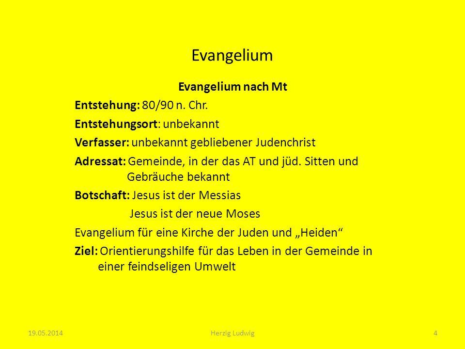 Evangelium Evangelium nach Mk Entstehung: 65-70 n.