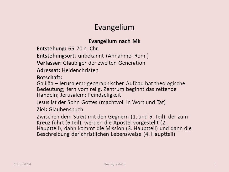 Evangelium Evangelium nach Mk Entstehung: 65-70 n. Chr. Entstehungsort: unbekannt (Annahme: Rom ) Verfasser: Gläubiger der zweiten Generation Adressat