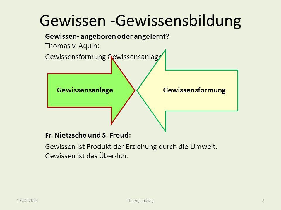 Gewissen -Gewissensbildung Gewissen- angeboren oder angelernt? Thomas v. Aquin: Gewissensformung Gewissensanlage Fr. Nietzsche und S. Freud: Gewissen