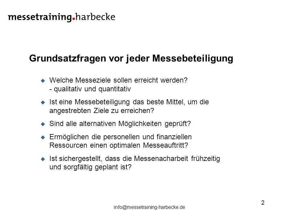 info@messetraining-harbecke.de 2 Grundsatzfragen vor jeder Messebeteiligung Welche Messeziele sollen erreicht werden? - qualitativ und quantitativ Ist