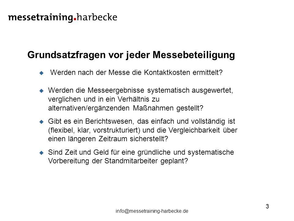 info@messetraining-harbecke.de 3 Grundsatzfragen vor jeder Messebeteiligung Werden nach der Messe die Kontaktkosten ermittelt? Werden die Messeergebni