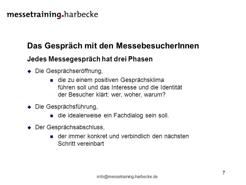info@messetraining-harbecke.de 7 Das Gespräch mit den MessebesucherInnen Jedes Messegespräch hat drei Phasen Die Gesprächseröffnung, die zu einem posi