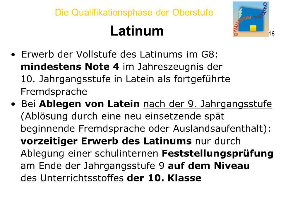 Die Qualifikationsphase der Oberstufe 18 Latinum Erwerb der Vollstufe des Latinums im G8: mindestens Note 4 im Jahreszeugnis der 10.