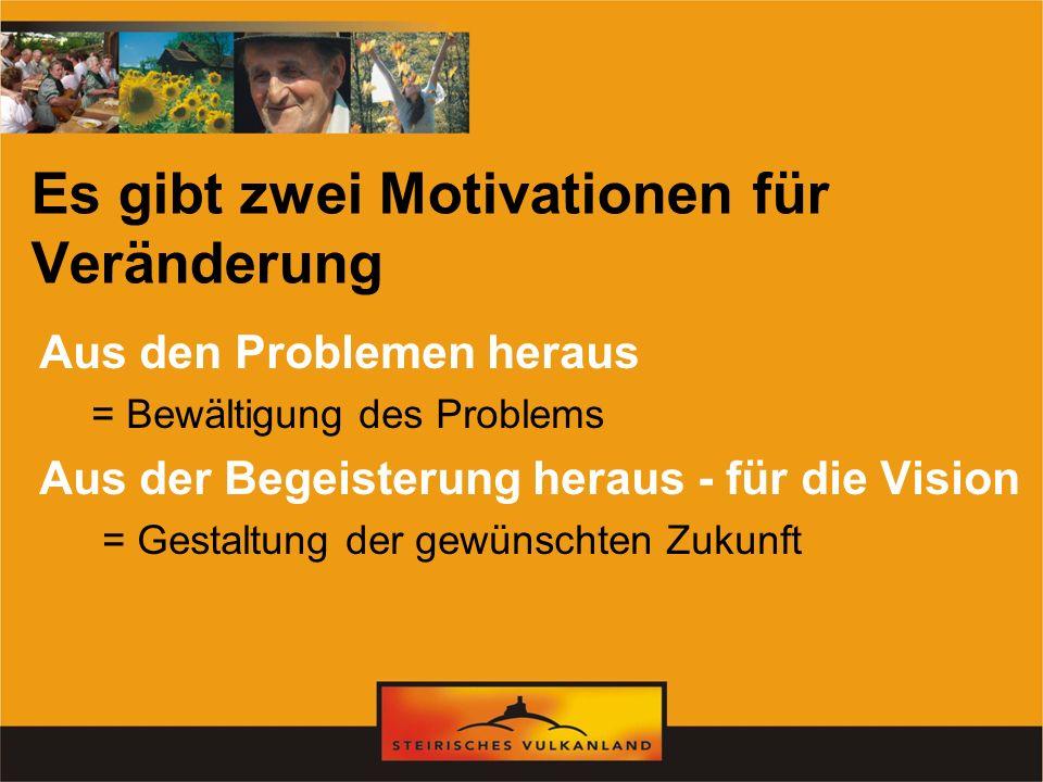 Es gibt zwei Motivationen für Veränderung Aus den Problemen heraus = Bewältigung des Problems Aus der Begeisterung heraus - für die Vision = Gestaltun