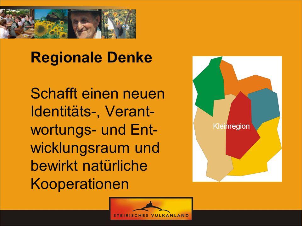 Regionale Denke Schafft einen neuen Identitäts-, Verant- wortungs- und Ent- wicklungsraum und bewirkt natürliche Kooperationen Kleinregion