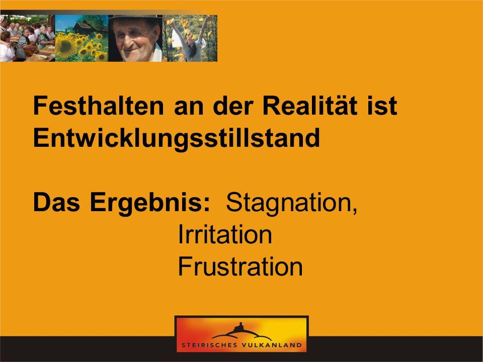 Festhalten an der Realität ist Entwicklungsstillstand Das Ergebnis: Stagnation, Irritation Frustration