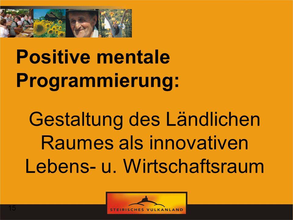 Gestaltung des Ländlichen Raumes als innovativen Lebens- u. Wirtschaftsraum Positive mentale Programmierung: 15