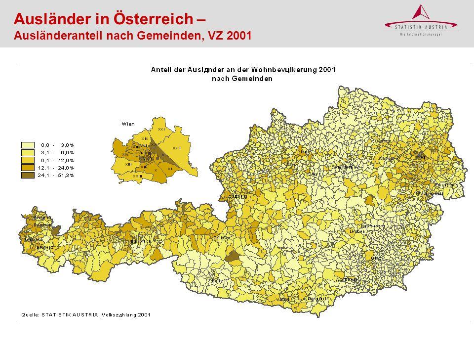 Ausländer in Österreich – Ausländeranteil nach Gemeinden, VZ 2001