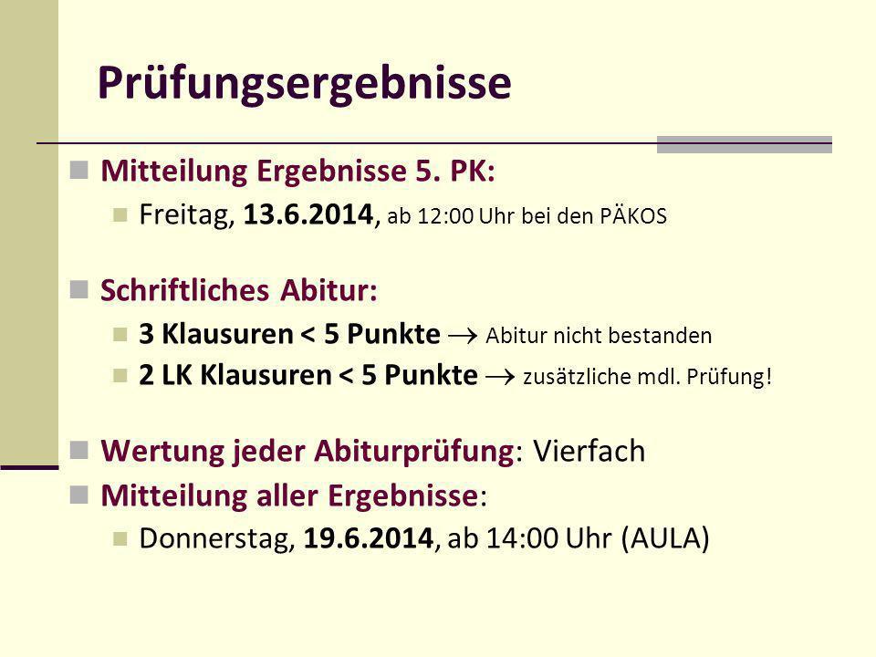 Mitteilung Ergebnisse 5. PK: Freitag, 13.6.2014, ab 12:00 Uhr bei den PÄKOS Schriftliches Abitur: 3 Klausuren < 5 Punkte Abitur nicht bestanden 2 LK K