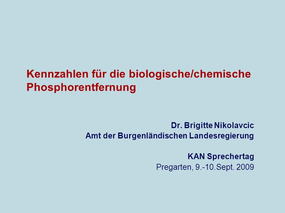 Kennzahlen für die biologische/chemische Phosphorentfernung Dr.