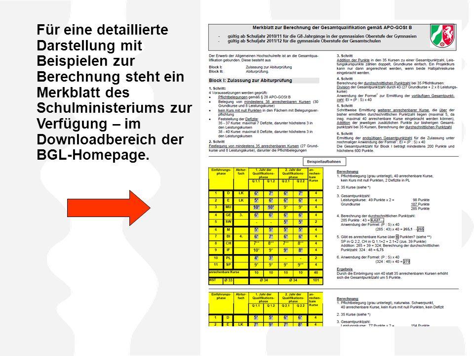 Für eine detaillierte Darstellung mit Beispielen zur Berechnung steht ein Merkblatt des Schulministeriums zur Verfügung – im Downloadbereich der BGL-H