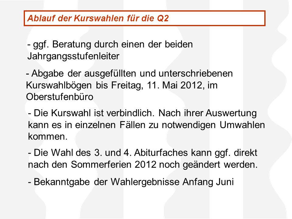 - Abgabe der ausgefüllten und unterschriebenen Kurswahlbögen bis Freitag, 11. Mai 2012, im Oberstufenbüro - ggf. Beratung durch einen der beiden Jahrg