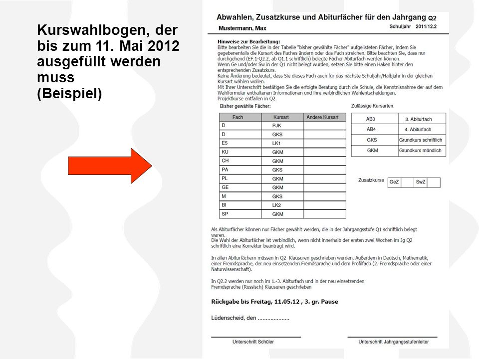 Kurswahlbogen, der bis zum 11. Mai 2012 ausgefüllt werden muss (Beispiel)