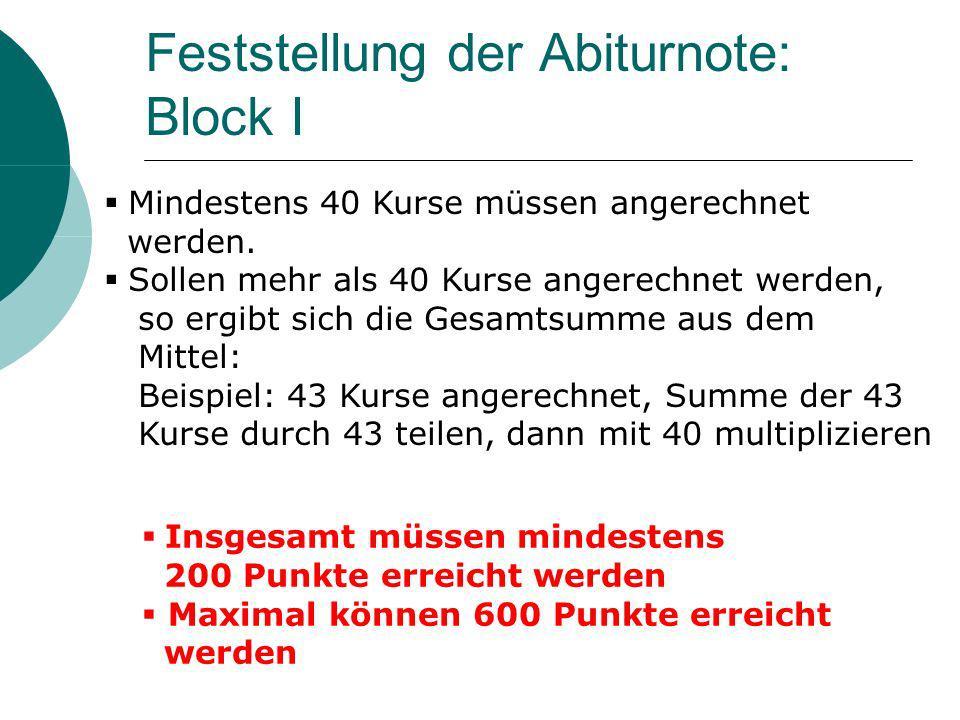 Feststellung der Abiturnote: Block I Mindestens 40 Kurse müssen angerechnet werden.