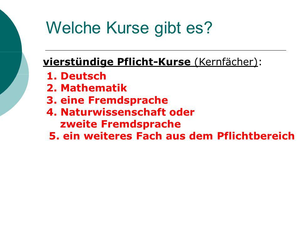 1. Deutsch 2. Mathematik 3. eine Fremdsprache 4. Naturwissenschaft oder zweite Fremdsprache 5. ein weiteres Fach aus dem Pflichtbereich Welche Kurse g