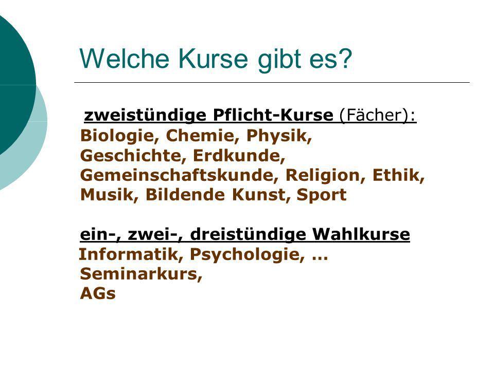 Welche Kurse gibt es? zweistündige Pflicht-Kurse (Fächer): Biologie, Chemie, Physik, Geschichte, Erdkunde, Gemeinschaftskunde, Religion, Ethik, Musik,