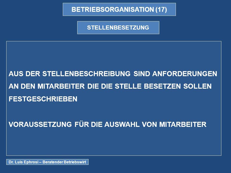 BETRIEBSORGANISATION (17) STELLENBESETZUNG AUS DER STELLENBESCHREIBUNG SIND ANFORDERUNGEN AN DEN MITARBEITER DIE DIE STELLE BESETZEN SOLLEN FESTGESCHRIEBEN VORAUSSETZUNG FÜR DIE AUSWAHL VON MITARBEITER Dr.