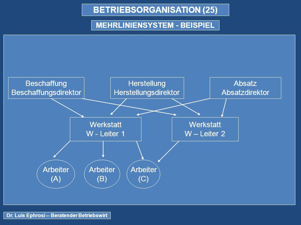 BETRIEBSORGANISATION (25) MEHRLINIENSYSTEM - BEISPIEL Dr.