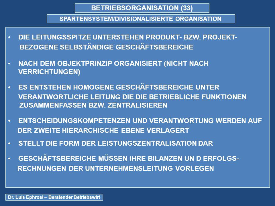 BETRIEBSORGANISATION (33) SPARTENSYSTEM/DIVISIONALISIERTE ORGANISATION DIE LEITUNGSSPITZE UNTERSTEHEN PRODUKT- BZW.