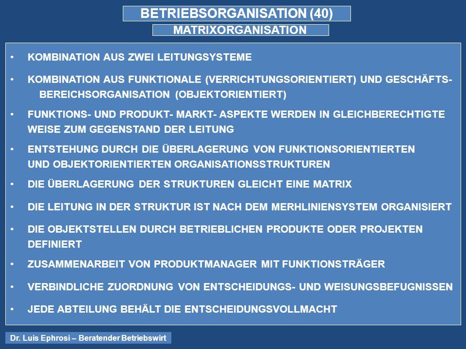 BETRIEBSORGANISATION (40) MATRIXORGANISATION KOMBINATION AUS ZWEI LEITUNGSYSTEME KOMBINATION AUS FUNKTIONALE (VERRICHTUNGSORIENTIERT) UND GESCHÄFTS- BEREICHSORGANISATION (OBJEKTORIENTIERT) FUNKTIONS- UND PRODUKT- MARKT- ASPEKTE WERDEN IN GLEICHBERECHTIGTE WEISE ZUM GEGENSTAND DER LEITUNG ENTSTEHUNG DURCH DIE ÜBERLAGERUNG VON FUNKTIONSORIENTIERTEN UND OBJEKTORIENTIERTEN ORGANISATIONSSTRUKTUREN DIE ÜBERLAGERUNG DER STRUKTUREN GLEICHT EINE MATRIX DIE LEITUNG IN DER STRUKTUR IST NACH DEM MERHLINIENSYSTEM ORGANISIERT DIE OBJEKTSTELLEN DURCH BETRIEBLICHEN PRODUKTE ODER PROJEKTEN DEFINIERT ZUSAMMENARBEIT VON PRODUKTMANAGER MIT FUNKTIONSTRÄGER VERBINDLICHE ZUORDNUNG VON ENTSCHEIDUNGS- UND WEISUNGSBEFUGNISSEN JEDE ABTEILUNG BEHÄLT DIE ENTSCHEIDUNGSVOLLMACHT Dr.