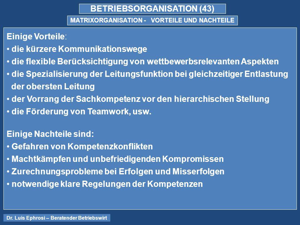 BETRIEBSORGANISATION (43) MATRIXORGANISATION - VORTEILE UND NACHTEILE Dr.
