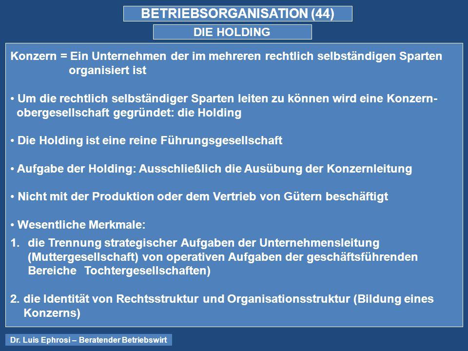 BETRIEBSORGANISATION (44) DIE HOLDING Dr.
