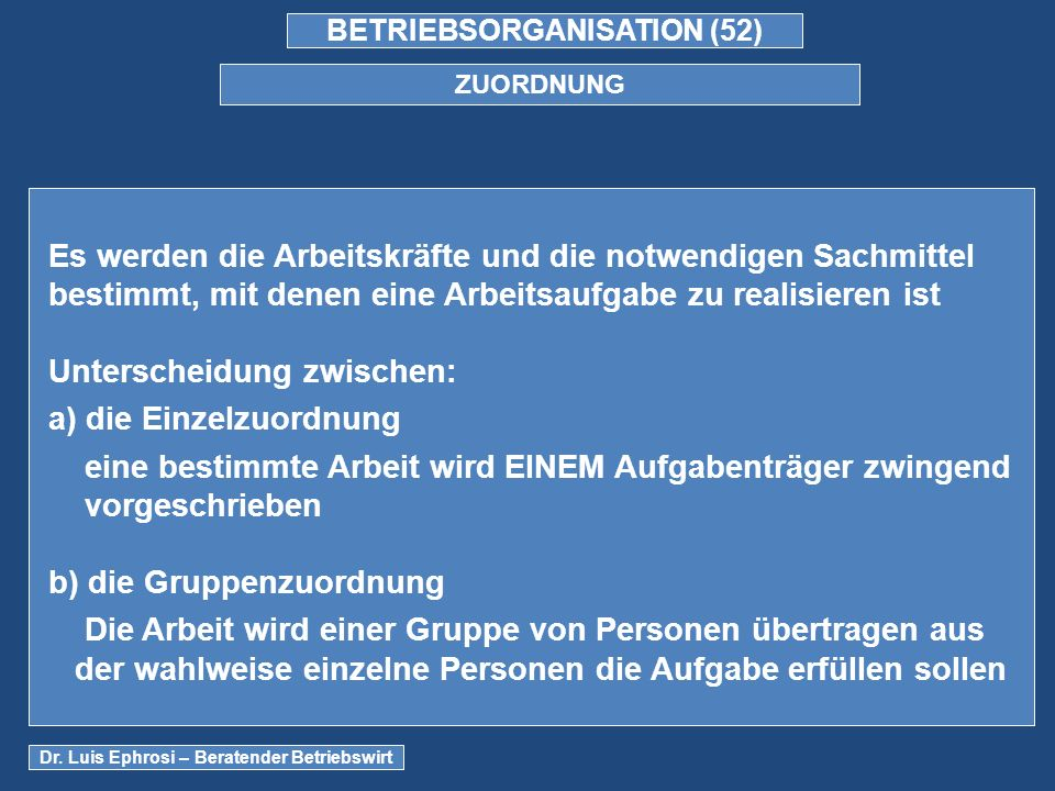 BETRIEBSORGANISATION (52) ZUORDNUNG Dr.