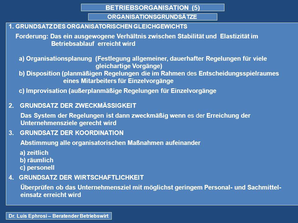 BETRIEBSORGANISATION (5) ORGANISATIONSGRUNDSÄTZE 1.