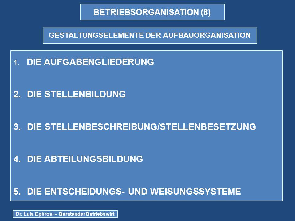 BETRIEBSORGANISATION (8) GESTALTUNGSELEMENTE DER AUFBAUORGANISATION 1.