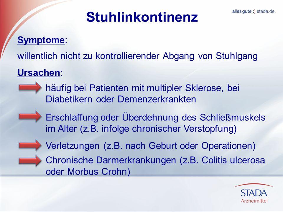 Stuhlinkontinenz Symptome: willentlich nicht zu kontrollierender Abgang von Stuhlgang Ursachen: häufig bei Patienten mit multipler Sklerose, bei Diabe