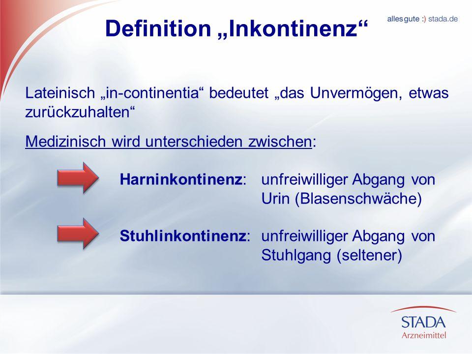 Definition Inkontinenz Lateinisch in-continentia bedeutet das Unvermögen, etwas zurückzuhalten Medizinisch wird unterschieden zwischen: Harninkontinen