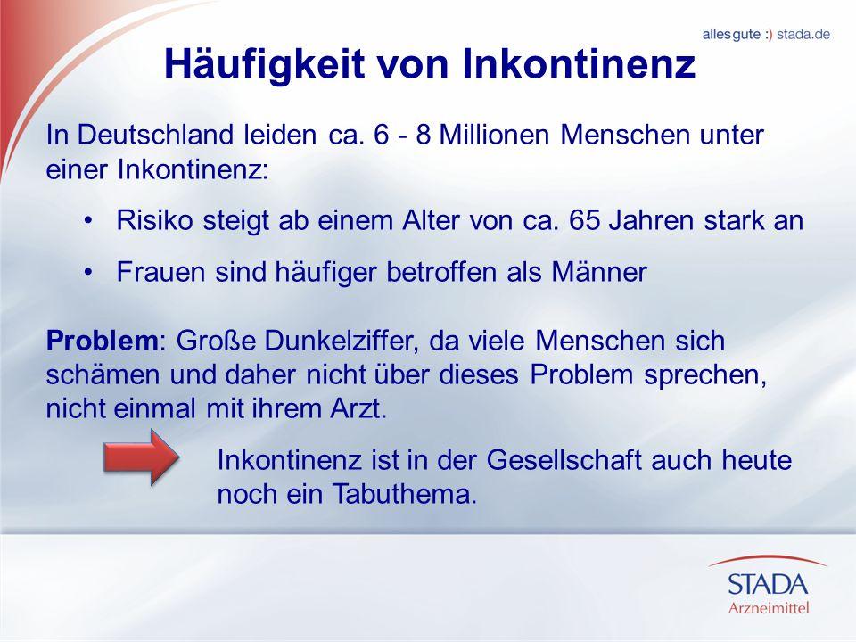Häufigkeit von Inkontinenz In Deutschland leiden ca. 6 - 8 Millionen Menschen unter einer Inkontinenz: Risiko steigt ab einem Alter von ca. 65 Jahren