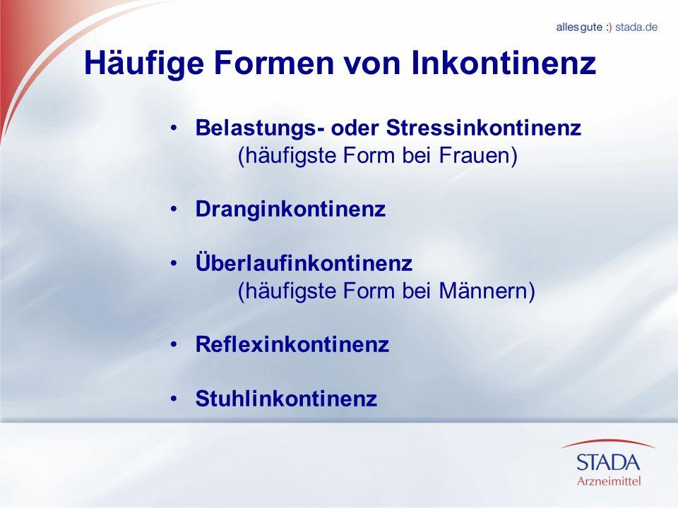 Häufige Formen von Inkontinenz Belastungs- oder Stressinkontinenz (häufigste Form bei Frauen) Dranginkontinenz Überlaufinkontinenz (häufigste Form bei Männern) Reflexinkontinenz Stuhlinkontinenz