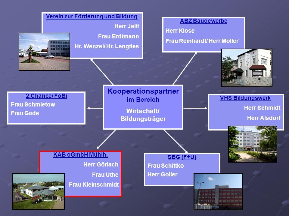 Verein zur Förderung und Bildung Herr Jelit Frau Erdtmann Hr. Wenzel/ Hr. Lengties VHS Bildungswerk Herr Schmidt Herr Alsdorf ABZ Baugewerbe Herr Klos