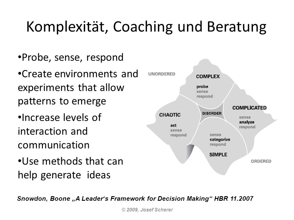 Komplexität, Coaching und Beratung Probe, sense, respond Create environments and experiments that allow patterns to emerge Increase levels of interaction and communication Use methods that can help generate ideas © 2009, Josef Scherer Snowdon, Boone A Leaders Framework for Decision Making HBR 11.2007