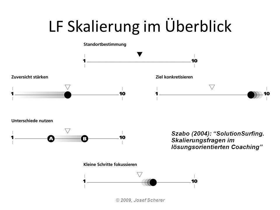 LF Skalierung im Überblick © 2009, Josef Scherer Szabo (2004): SolutionSurfing. Skalierungsfragen im lösungsorientierten Coaching
