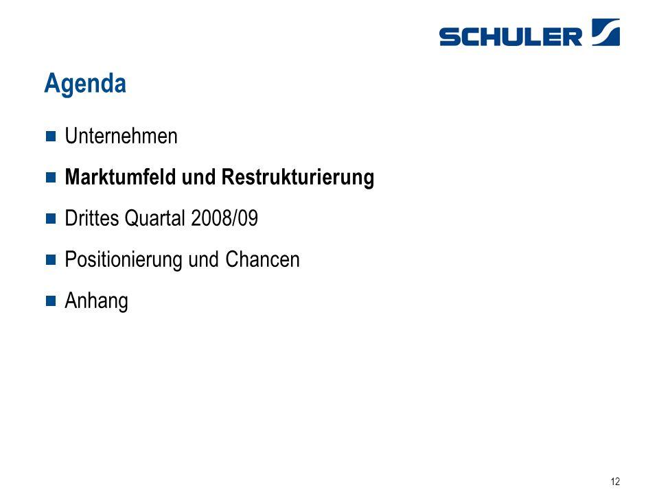 12 Unternehmen Marktumfeld und Restrukturierung Drittes Quartal 2008/09 Positionierung und Chancen Anhang Agenda