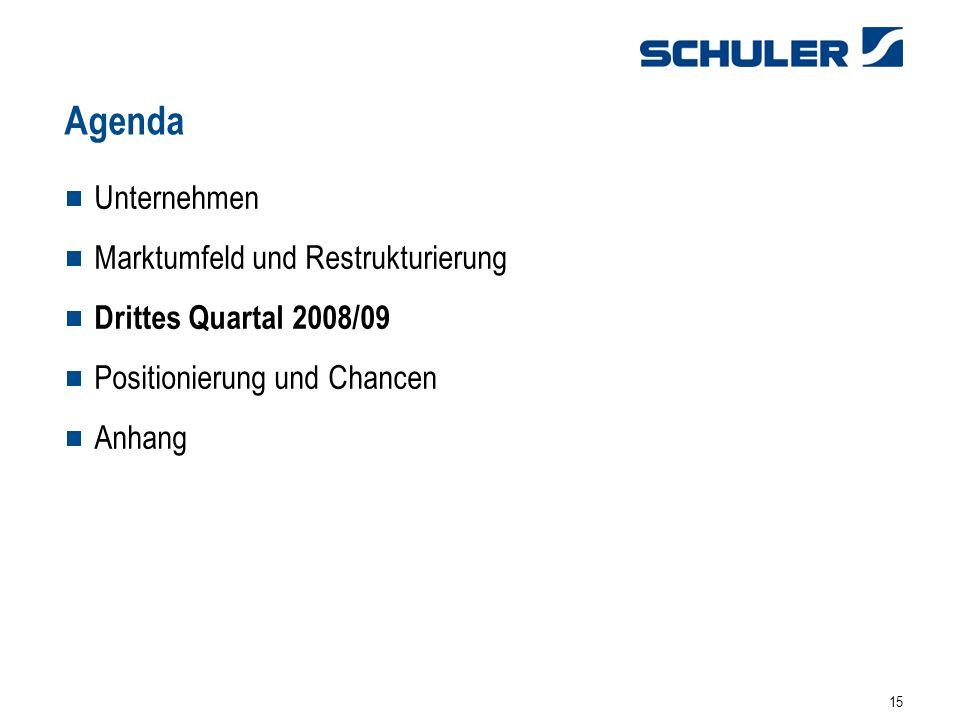 15 Unternehmen Marktumfeld und Restrukturierung Drittes Quartal 2008/09 Positionierung und Chancen Anhang Agenda