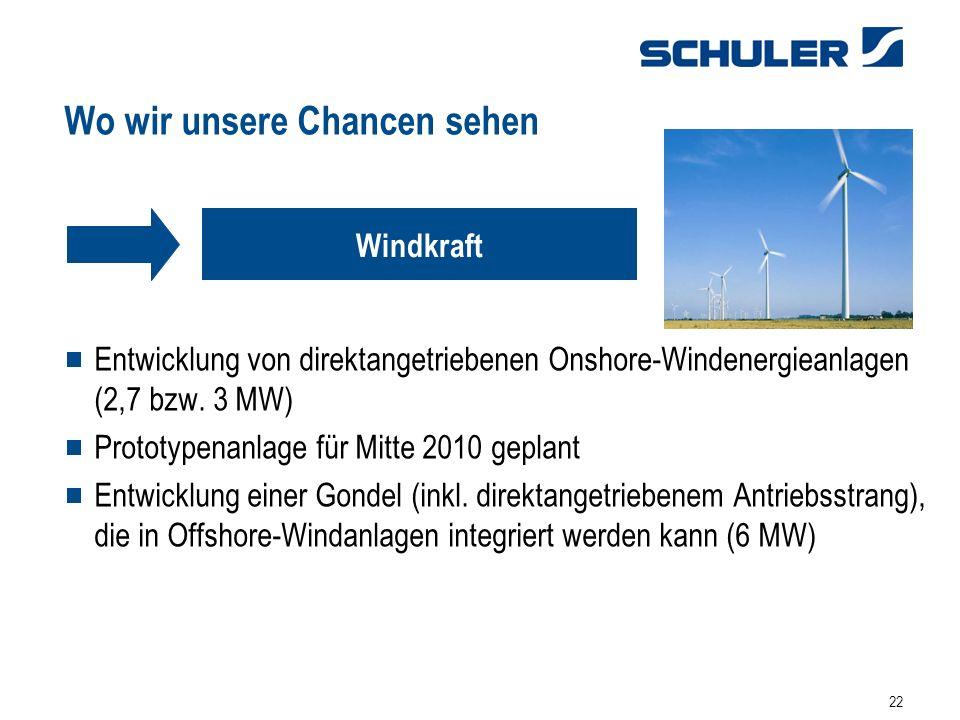 22 Wo wir unsere Chancen sehen Entwicklung von direktangetriebenen Onshore-Windenergieanlagen (2,7 bzw. 3 MW) Prototypenanlage für Mitte 2010 geplant